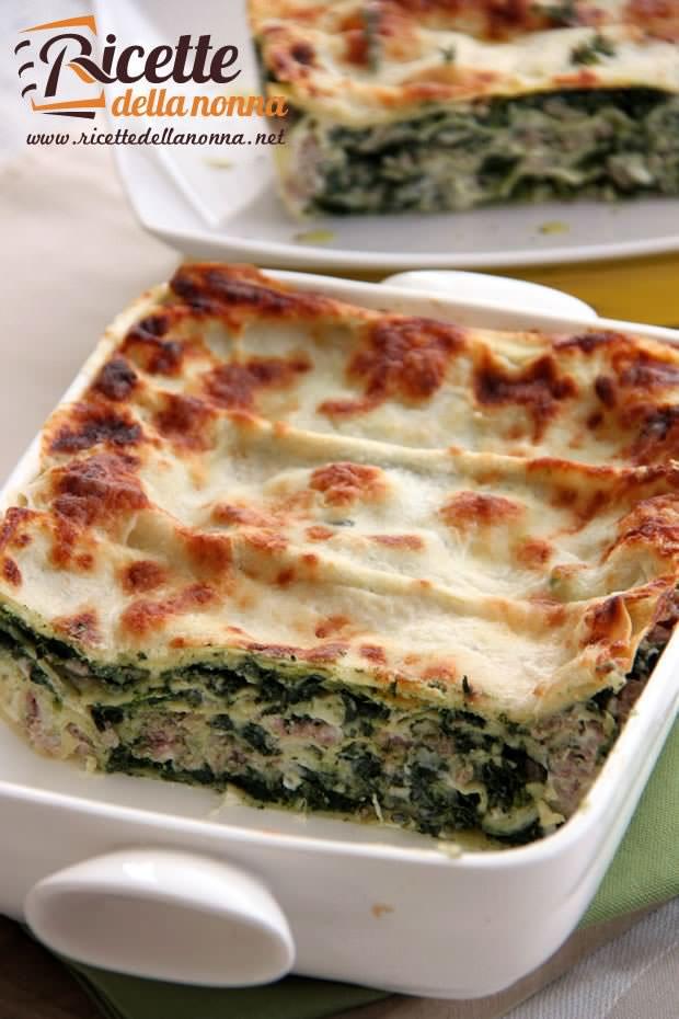 Lasagna bianca salsiccia e spinaci