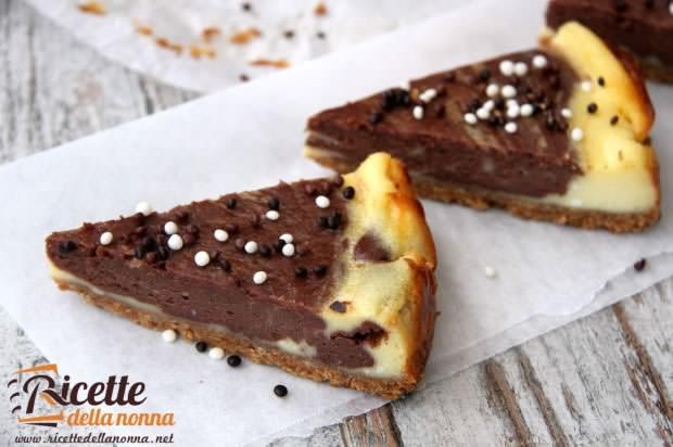 Cheesecake variegata al cioccolato