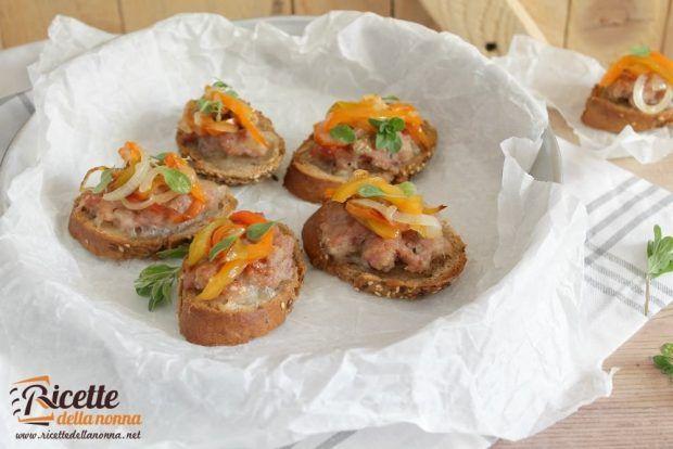 Ricetta bruschetta salsiccia e gorgonzola