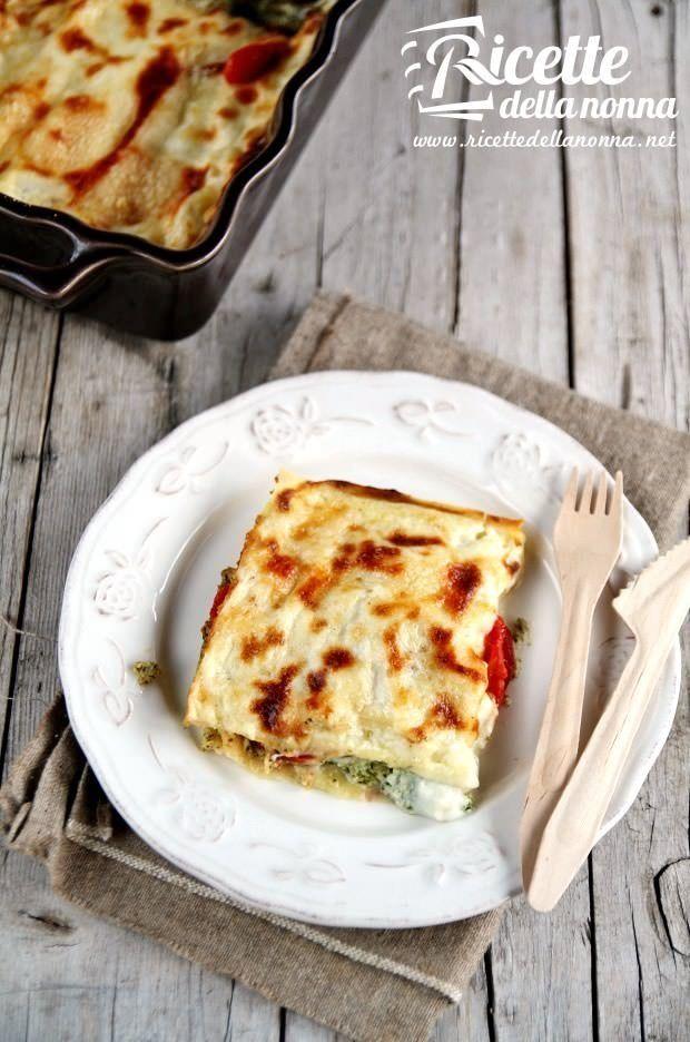 Foto lasagna pesto, ricotta e pomodorini