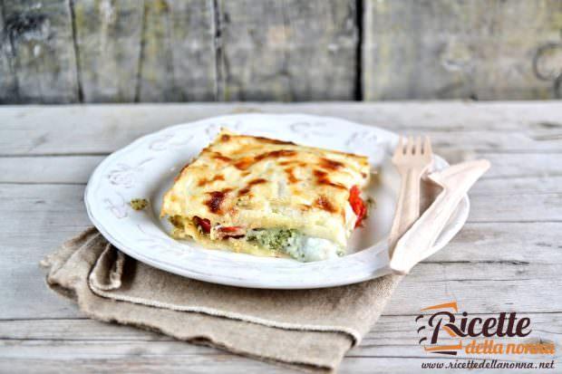 Ricetta lasagna pesto, ricotta e pomodorini
