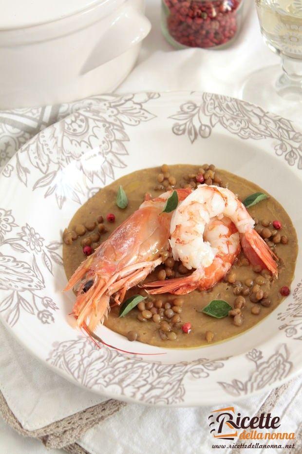 Zuppa fredda lenticchie e gamberi ricetta e foto