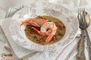Zuppa fredda di lenticchie e gamberi