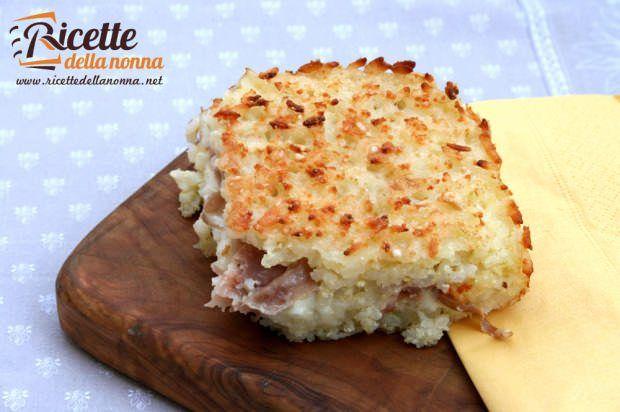 Tortino di riso con mozzarella e mortadella ricetta e foto