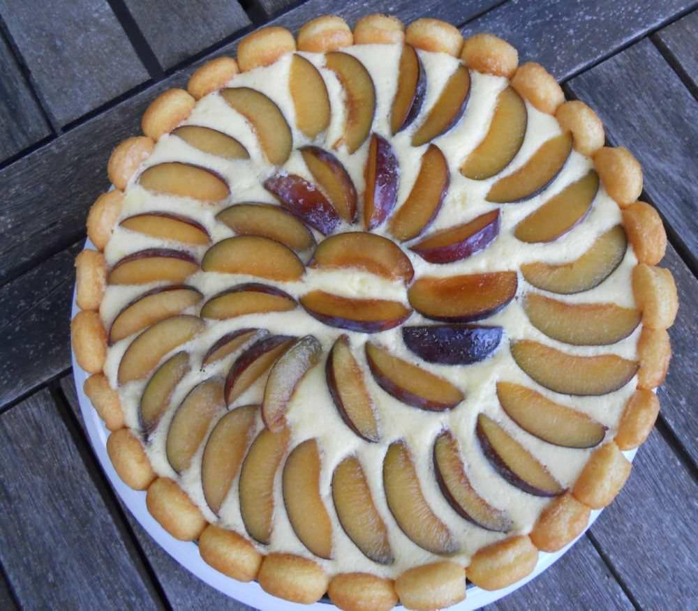 Torta fredda di crema chantilly all'arancia light e susine