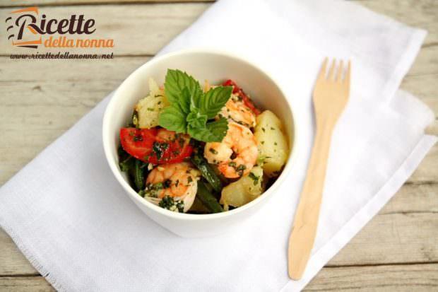 Ricetta insalata fagiolini, patate e gamberi