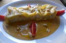 Lasagne allo stoccafisso con salsa di zucca e funghi