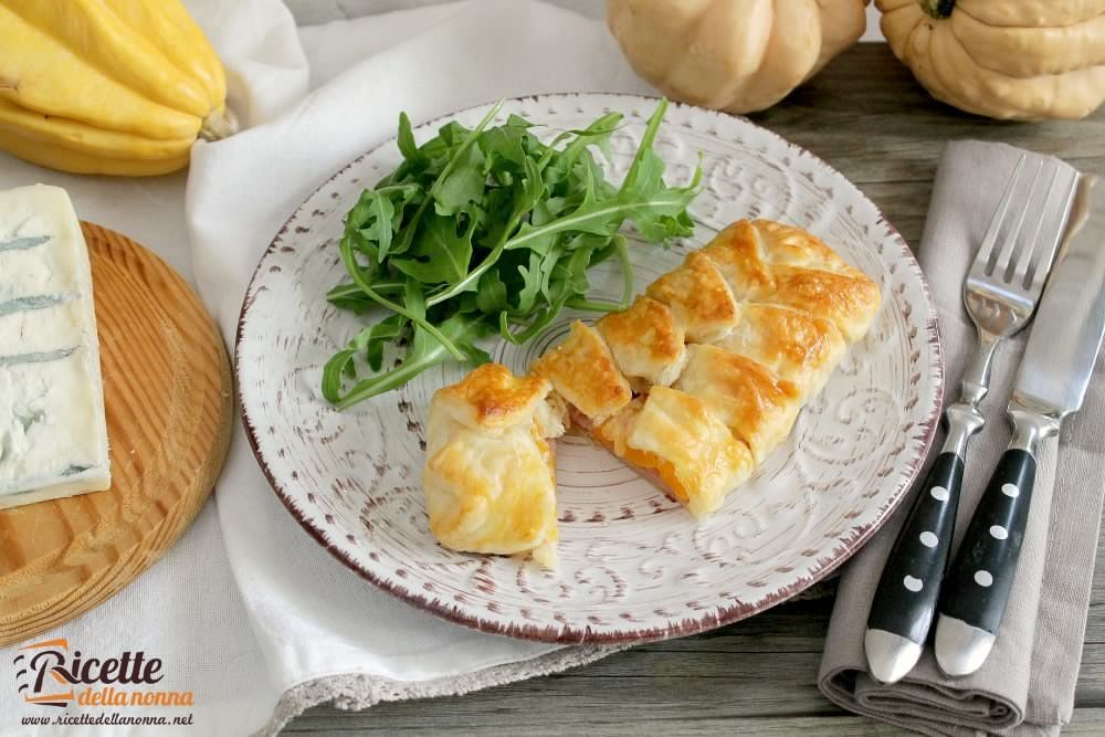 Ricetta scrigni di gorgonzola, zucca e cotto