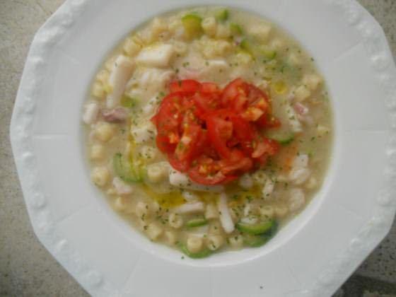 Minestra di finocchi, zucchine al profumo di mare ricetta e foto