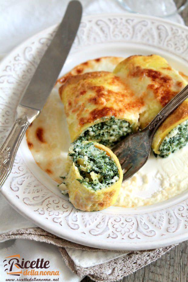 Cannelloni di fritta con spinaci e ricotta ricetta e foto