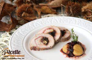 Arrosto di Natale ripieno di castagne e prugne con riduzione al Bordeaux