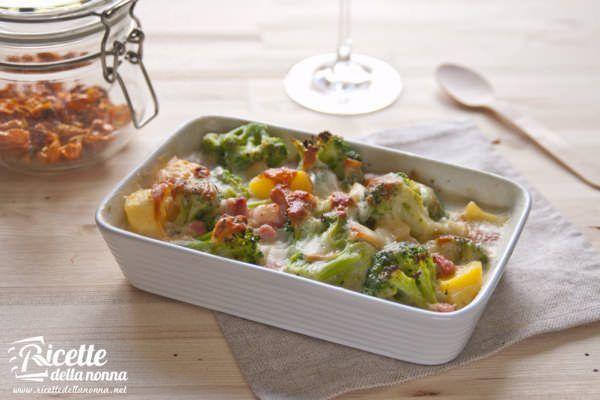 Gratin di broccoli e pancetta