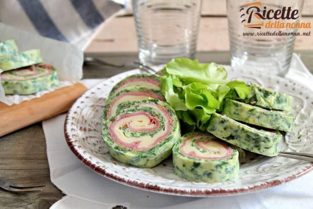 Ricetta rotolo di frittata di spinaci con provola e cotto