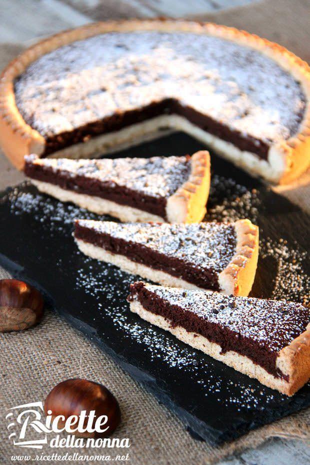 Crostata al cioccolato e castagne ricetta e foto