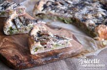 Torta salata ai porri con provola e prosciutto cotto