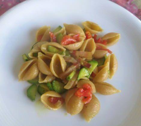 zucchine, pancetta, pomodoro