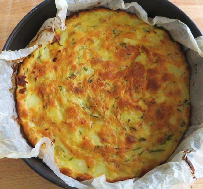 frittata di patate e scalogno al forno