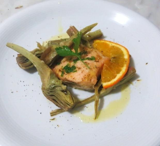 Salmone,carciofi e agrumi