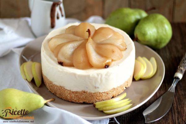 Cheesecake senza cottura alla ricotta e pere