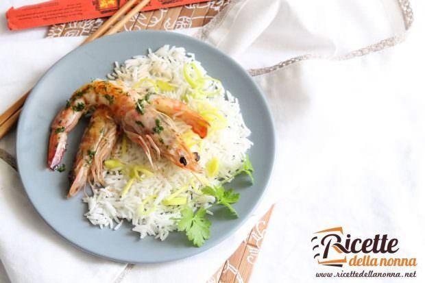 Ricetta gamberi marinati con riso allo zenzero