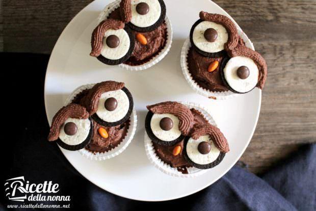 Ricetta cupcake civetta di Halloween