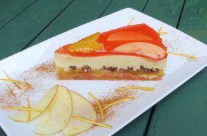 Torta soffiata di mascarpone, mele, arance rosse e bionde