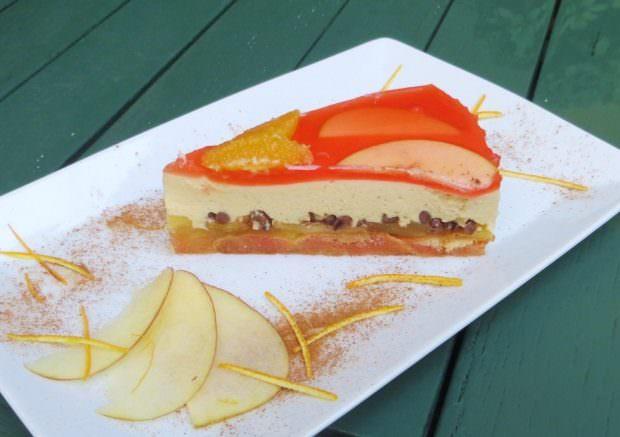 Torta soffiata , al mascarpone, mele,arance rosse e bionde