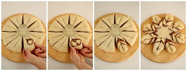 Preparazione stella di brioche alla Nutella