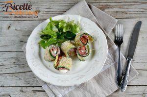 Rotolini di zucchine con prosciutto e mozzarella