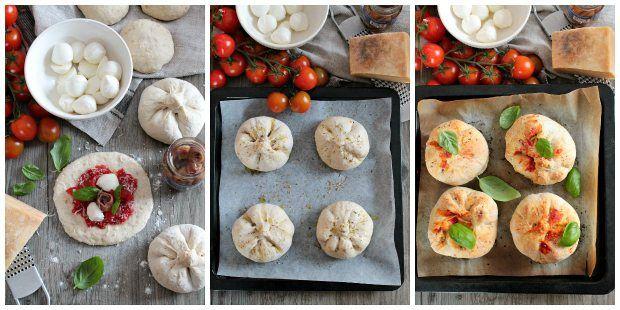 Preparazione strombolini panini ripieni alla mozzarella, pomodoro e basilico
