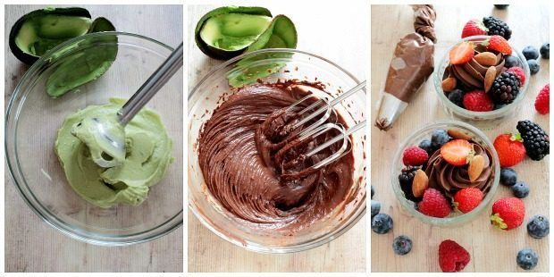 Preparazione mousse vegana al cioccolato e avocado