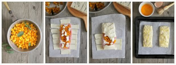 Preparazione torta salata di zucca